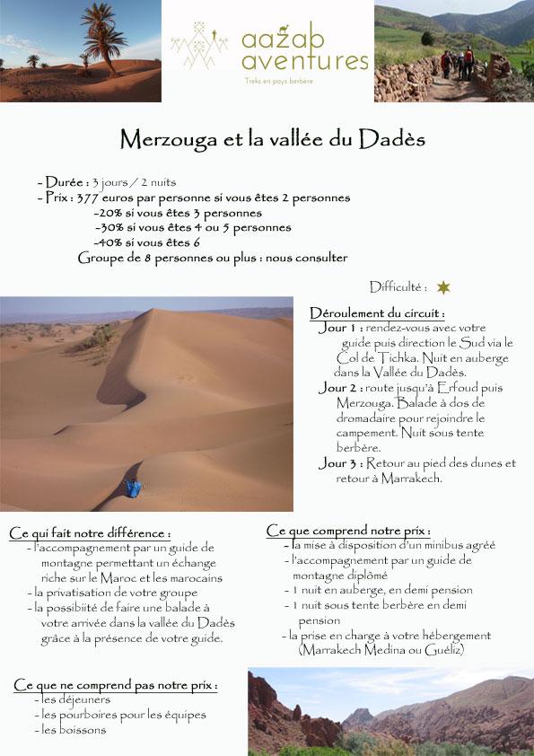 circuit au départ de Marrakech - Merzouga et la vallée du Dadès