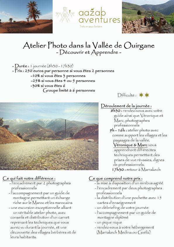 Aazab Aventure, excursions depuis Marrakech, atelier photo à Ouirgane, Marrakech